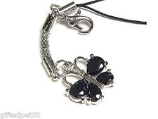 Black Crystal Butterfly Charm / Cell Phone Jewelry!
