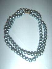Vintage Blue Grey Dimple Faux Pearl Czech Glass 8mm Bead 2 Strand Necklace