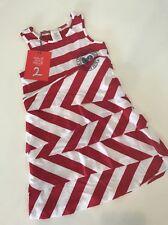 NEW Sz 4 Yr 104 DEUX PAR DEUX Red White Striped Nautical Sailor Ruffle Dress
