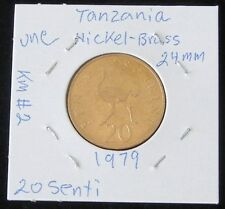 VERY NICE 2 COIN SET ~ TWO TANZANIA 1979 20 SENTI UNCIRCULATED COINS