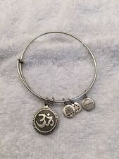 Authentic Alex and Ani Russian Silver OM Charm Bangle Bracelet