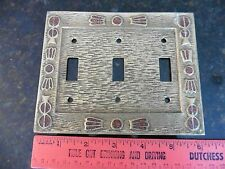 Vintage 3 light Switch Brass Cover Plate electrical copper colored enamel Korea
