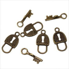 50x New Antique Bronze Mixed Lock Key Design IQ Buckle Pendants Toggle Clasps D