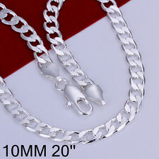 Wholesale 925Sterling Silver 10MM Flat Sideways Men Chain Necklace 20inch N005