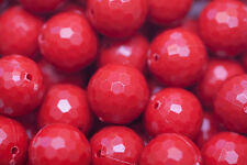 Red Faceted Solid Golf Ball 20mm Chunky Beads 10 ct for Bubblegum Necklace