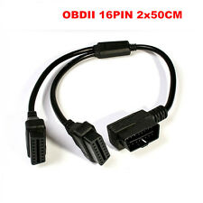 50cm OBD2 Right Angle Y-Splitter Extension Cable 16Pin Male to 16Pin Dual Female
