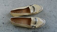 TOD'S Womens Beige  Patent Leather Slip-On Flat Moccasin Loafer Driving Shoe 8.5
