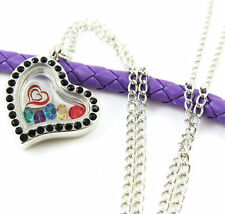 Living Memory Floating Charm Silvery Heart  black  Locket Necklace XY81