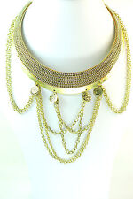 GOLDEN CHOKER NECKLACE WITH ELONGATED BRAIDED FRINGES (CL12)