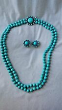 "Vintage CROWN TRIFARI ""PersianTurquoise"" Thermoset NECKLACE w/ Brooch Clasp & ER"