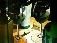 "Dauf-""Modern Wines""-ORIGINAL Oil Painting/Canvas/Hand Signed 48""x 36"" Image"
