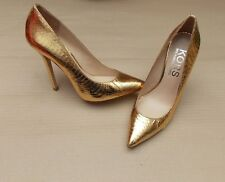 MICHAEL KORS ABERLY SNAKE EFFECT LEATHER GOLD LADIES PUMPS BN SHOES HEELS £200+