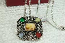 Vintage Scottish Brooch / Pendant Celtic Pewter Agate Lattice New Chain N51