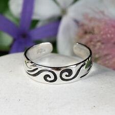 925 Sterling Silver Toe Ring Swirl Wave Pattern Tribal Adjustable Girls Womans