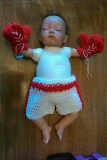 crochet baby boy girls unisex boxing gloves & shorts set 0-3 3-6 photo props