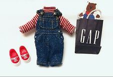 Kelly Doll Clothes GAP Denim Overalls Red Striped Shirt Shoes & Shopping Bag NEW