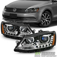 Black 2011-2016 VW Jetta MK6 Sedan [Halogen Model] LED DRL Projector Headlights