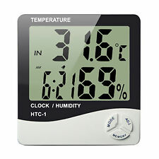 Digital LCD Temperature Humidity Meter Clock Indoor Hygrometer Thermometer HTC-1