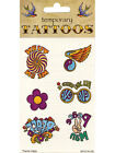 Hippy Hippie Groovy 60's 70's temporary Tattoos Love CND Fancy Dress Accessory