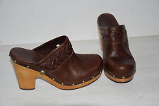 UGG Australia Brown Leather Studded Clog Slide On Wooden Heels Shoes Womens Sz 7