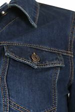 Womens Full Navy Denim Sleeve Classic Cotton Buttons Jacket Jean Sizes UK 16-26