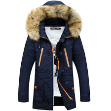 winter mens fur collar lining thick jacket coat trench parka overcoat padded