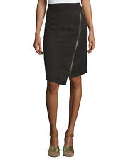 Marie Asymmetric-Zip Skirt, Black size XS