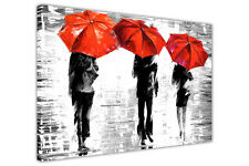 B&W UMBRELLAS IN RAIN BY LEONID AFREMOV ABSTRACT CANVAS PRINTS WALL ART PICTURES