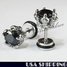 Cool 316L Stainless Steel Black CZ Eagle Claw Men/Women Earrings Ear Screw Stud