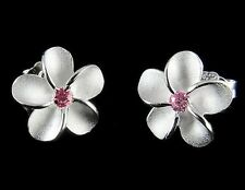 STERLING SILVER 925 HAWAIIAN PLUMERIA FLOWER EARRINGS POST STUD 12MM PINK CZ