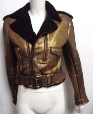 RALPH LAUREN GOLD LEATHER METALLIC SHEARLING MOTORCYCLE  Cropped Jacket Coat 2