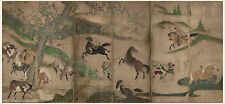 Japanese antique screen painting Very big size Samurai horses 1 Hasegawa touhaku