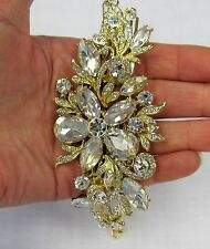 Gold Plated Clear Floral Rhinestone Crystal Hair Comb # 3261G Wedding Bridal