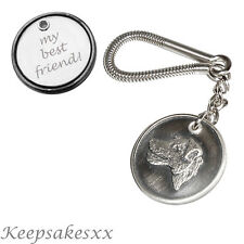 Jack Russell Terrier DOG Tag Disc KEYRING in Pewter with PERSONAL ENGRAVING