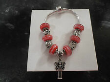 "Sterling Silver Plated Child/Teen Red Girls Charm Bracelet 7"" CHRISTMAS"