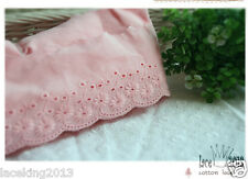 """14Yds Broderie Anglaise cotton eyelet lace trim 2.5"""" Pink YH865 laceking2013"""