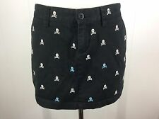 Ralph Lauren Rugby Black Skull & Bones Halloween Sexy Pirate Mini Skirt Size 2