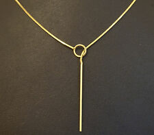 """9Carat Yellow Gold 22"""" Square Snake Lariat Style Necklace (1mm Width)"""