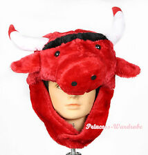 RED WEBUFFALO BULL COW OX CATTLE COSTUME HAT MASK H68