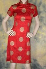 vtg 60s 70s ALFRED SHAHEEN red CHEONGSAM gold print DRESS S SEXY