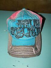 True Religion Trucker  Cap Hat Distressed Bling  Women's Summer Pink