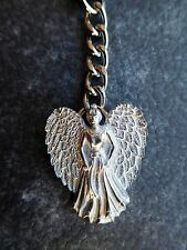 Guardian Angel English Polished Pewter Keyring. Lucky Charm Hand-cast In The UK