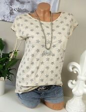 Shirt Glitzer Sterne VINTAGE T-Shirt 34 36 38 Italy Baumwolle Nude Silber Sommer