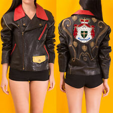 RARE MOSCHINO VINTAGE COUTURE REAL LEATHER BIKER JACKET EMBROIDERED CROWN 90s