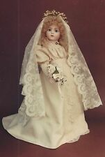 "22-23""ANTIQUE FRENCH BRU VICTORIAN BRIDE DOLL YOKE DRESS&VEIL PATTERN GERMAN"