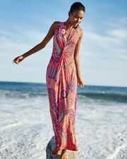 NWT L $178 TOMMY BAHAMA Coral Carnival Lights Travel Maxi Dress Large 12-14