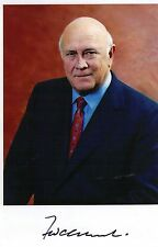 Hand Signed 6x4 photo F W DE KLERK - PRESIDENT of SOUTH AFRICA