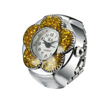 Yellow Bling Floral Bezel Pretty Design Steel Finger Ring Watch Quartz Lady Girl