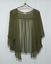 Womens OLIVE Green Plus Size 1X Chiffon Cardigan Bolero Shrug Top