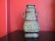 ANTIQUE 1800s CHINESE Bronze Metal Ornate Vase w/Top/ Animal Handles Signed